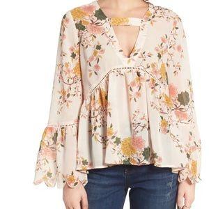 Sun & Shadow Floral Print Bell Sleeve Blouse